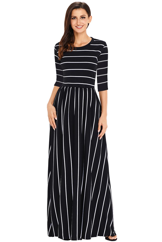 US$27.73 Zkess Black White Striped Casual Pocket Style Maxi Dress