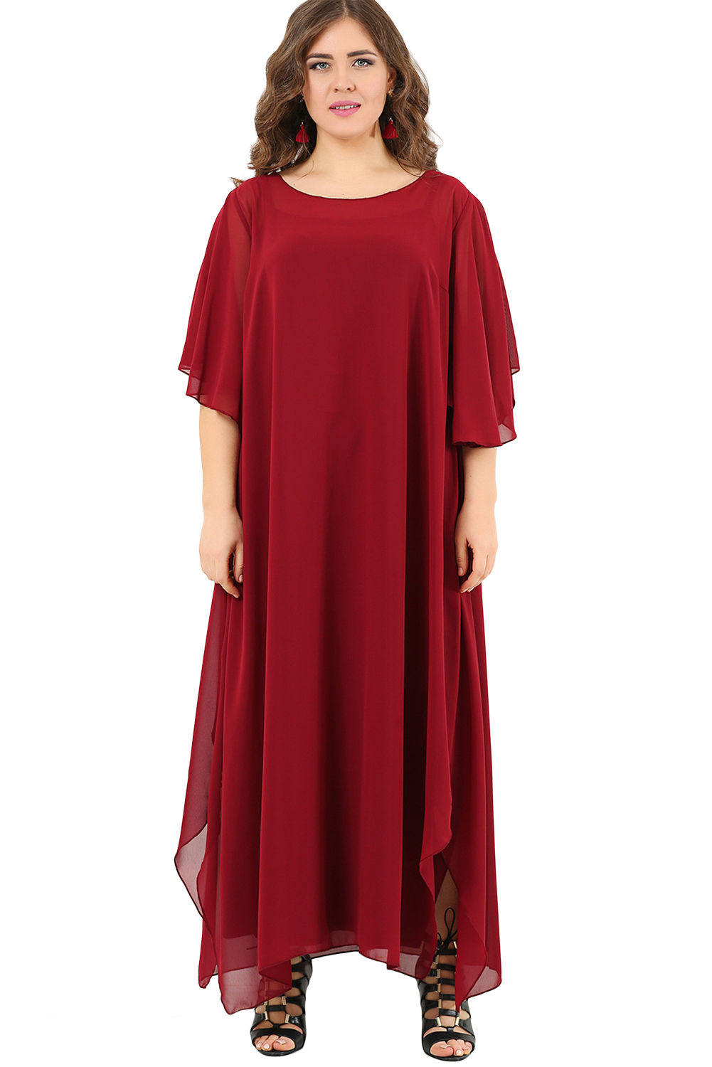US$34.5 Zkess Red Plus Size Ruffle Chiffon Maxi Dress with Slit Sleeves