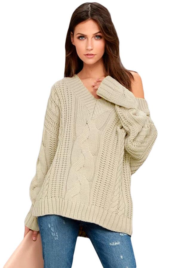 Us3238 Zkess Khaki Cable Knit V Neck Sweater
