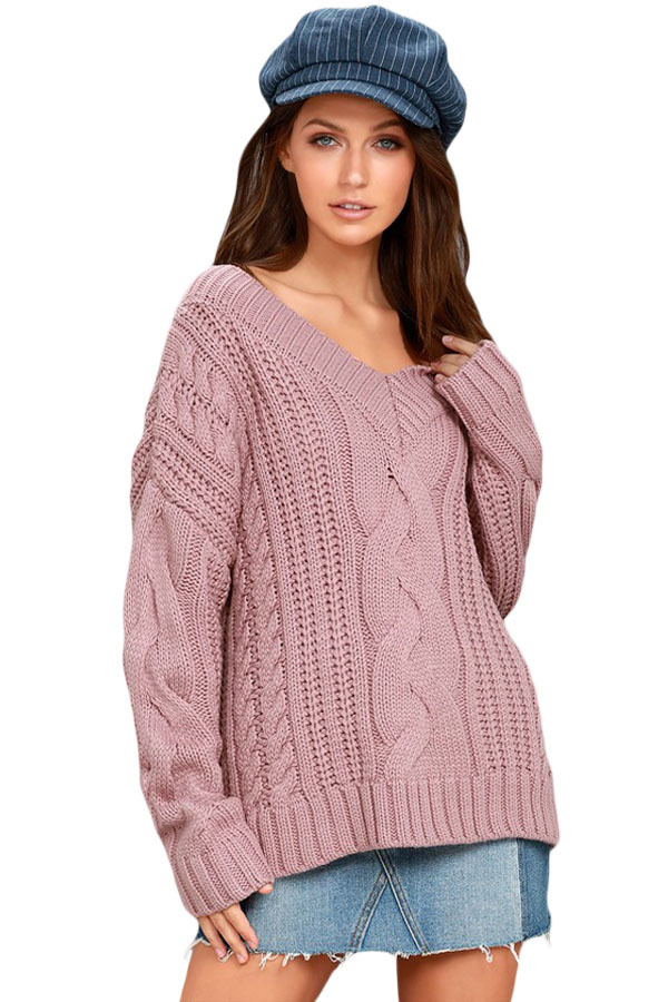 Us3238 Zkess Pink Cable Knit V Neck Sweater