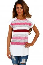 White and Pink Multi Stripe Female T-Shirt