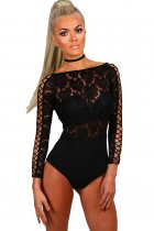 Black Lace Lattice Sleeve Bodysuit