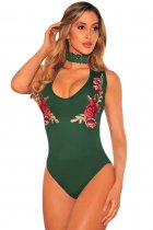 Green Embroidered Rose Choker Bodysuit
