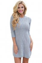 Grey Cable Knit Fitted 3/4 Sleeve Sweater Dress
