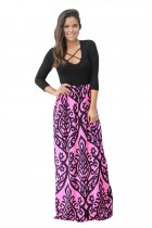 Black Rosy Printed Maxi Dress with Criss Cross Top