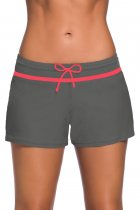 Red Trim Taupe Women Swim Boardshort
