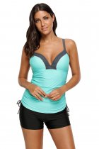Mint Bralette Tankini Top with Shorts Swimsuit