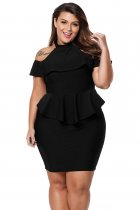 Black Plus Size Cold Shoulder Peplum Bodycon Dress