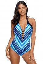 Blue Fish Scale Mermaid Maillot Teddy Swimwear
