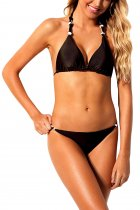 Black 2pcs Knot Detail Bikini Swimsuit