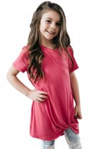 Rosy Twist Drape Short Sleeve Tee for Girls