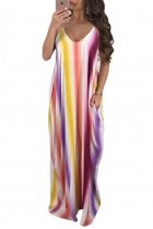 Lavender Multicolor Striped V-Neck Boho Maxi Dress