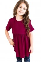 Fuchsia Short Sleeve Frilled Little Girl Tunic Top