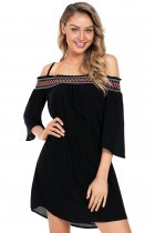 Black Off Shoulder Embroidered Neckline Boho Beach Dress