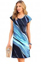 Blue Navy Taupe Tie Dye Print Cap Sleeve Sheath Dress