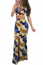 Daring Cutout Crop Top Blue Floral Maxi Dress