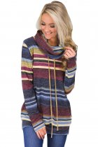 Blue Multicolor Cowl Neck Striped Cozy Sweatshirt