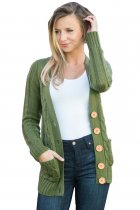 Army Green Wooden Button Cardigan