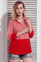 Red Pinstripe Color Block Relaxed Boyfriend Shirt