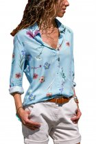Light Blue Long Sleeve Floral Print Button Front Shirt