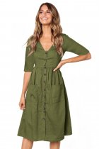 Sage Green Button Front Midi Dress with Pockets