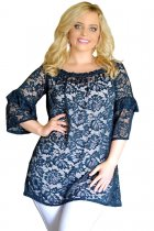 Navy Floral Lace Sheer Plus Size Tunic Top