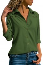 Dark Green Stylish Button Detail Long Sleeve Blouse