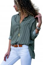 Olive Green Striped Button Detail Shirt for Women
