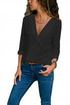 Black Lapel V Neck Button Down Blouse
