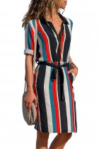 Four Color Striped Print Button V Neck Shirt Dress