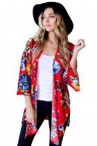 Lightweight Bell Sleeve Red Floral Cardigan