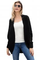 Black Hollow Out Knit Long Sleeves Cardigan