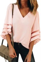 Pink Flare Sleeve V Neck Loose Blouse