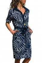 Navy Individual Zigzag Print Button V Neck Shirt Dress