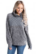 Grey Fleece Asymmetrical Snap Pullover