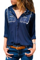 Embroidered Shoulder Accent Navy Shirt for Women