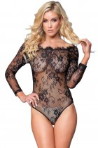 Black Long Sleeve Embroidery Lace Bodysuit