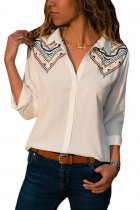 Embroidered Shoulder Accent Creamy Shirt for Women