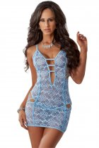 Blue Rose Lace Strappy Lingerie Dress