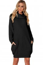 Black Heap Collar Mini Knit Dress