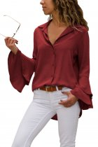 Burgundy Layered Bell Sleeve Button Down Shirt