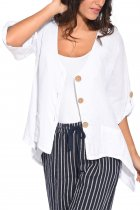 White Roll Tab Sleeve Button Front Casual Shirt