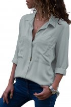 Gray Covered Placket Button Down Shirt