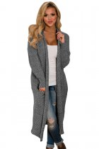 Gray Open Front Knit Long Cardigan