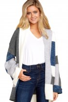 Gray Blue Multi Colorblock Open Front Cardigan