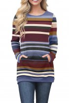 Blue Burgundy Color Gradation Striped Sweatshirt