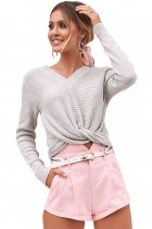 Chic Gray V Neck Twisted Sweater
