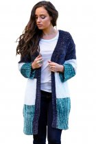 Blue White Colorblock Velvet Chenille Sweater Cardigan