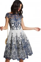 Dreamy Navy White Lace Embroidered Prom Dress