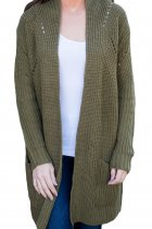 Army Green Open Front Women Cardigan with Pockets